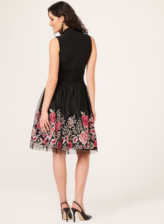 Floral Embroidered Mesh Jersey Dress, Black, hi-res