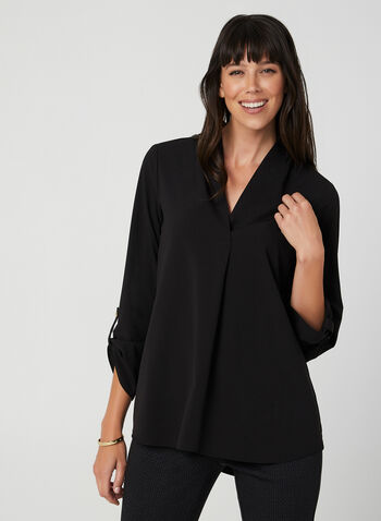 Crepe V-Neck Tunic Blouse, Black,  v-neck, blouse, tunic, crepe, long sleeves, fall 2019, winter 2019