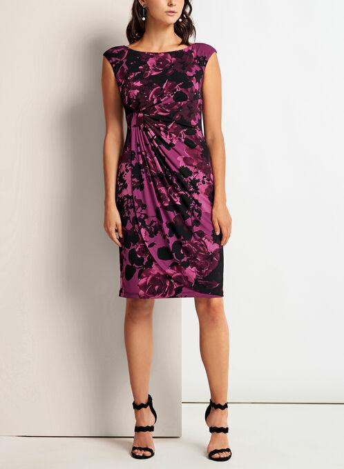 Floral Print Faux Wrap Dress, Red, hi-res