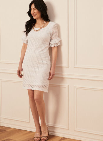 Ruffle Sleeve Lace Dress, White,  spring summer 2021, lace knit, dresses, ruffled sleeves, scoop neck,