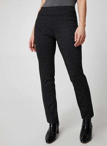 Slim Leg Plaid Pants, Black,  plaid, slim leg, pull-on, fall winter 2019