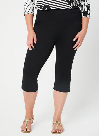 Picadilly - Capri Pants, Black, hi-res,  Picadilly, capri pants, pull-on, cotton, spring 2019