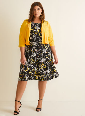 Floral Print Dress & Cardigan, Yellow,  dress. day dress, flower print, sleeveless