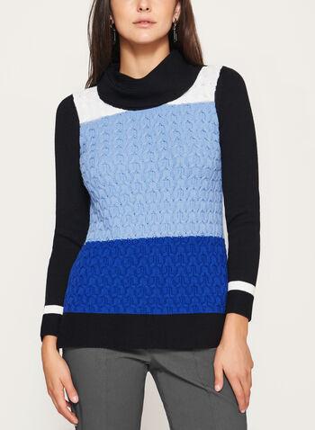 Pull à col roulé en tricot et torsades, Bleu, hi-res
