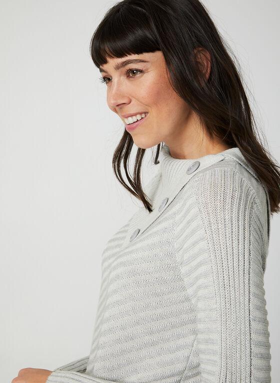 Pull à col asymétrique en tricot côtelé, Gris
