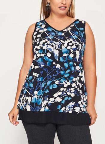 Tunique sans manches à fleurs en jersey, Bleu, hi-res