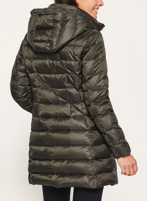 Hooded Quilted Down Coat , Green, hi-res