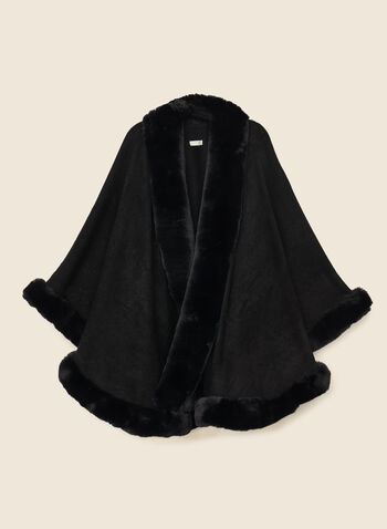 Faux Fur Trim Shawl, Black,  shawl, faux fur, fall winter 2020