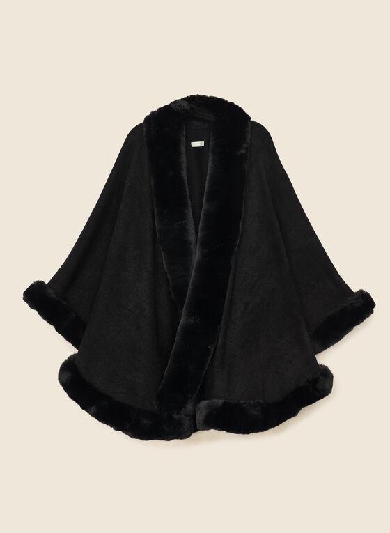 Faux Fur Trim Shawl, Black