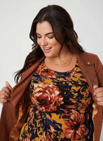 Haut fleuri à taille empire, Brun,  floral, imprimé, fleurs, motif, motifs, automne hiver 2019, haut à manches courtes, blouse à manches courtes