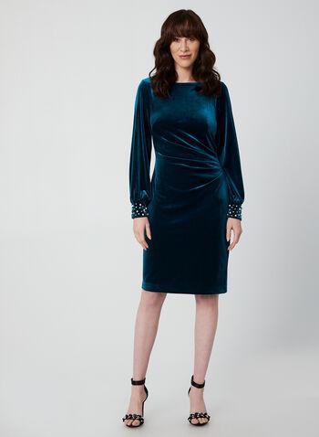 Robe drapée en velours et perles, Bleu,  automne hiver 2019, robe, robe cocktail, robe courte, manches longues, robe à manches longues, perles, cristaux, strass, velours