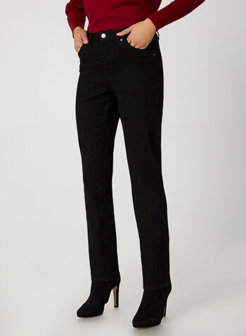 Simon Chang - Signature Fit Jeans, Black,  Simon Chang, jeans, denim, straight leg, Signature Fit, pants, tummy control, fall 2019, winter 2019