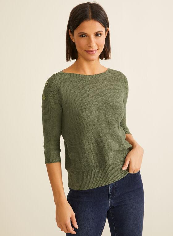 Pull en tricot à manches ¾, Vert