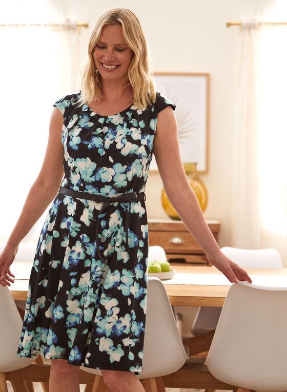 Belted Floral Print Dress, Black