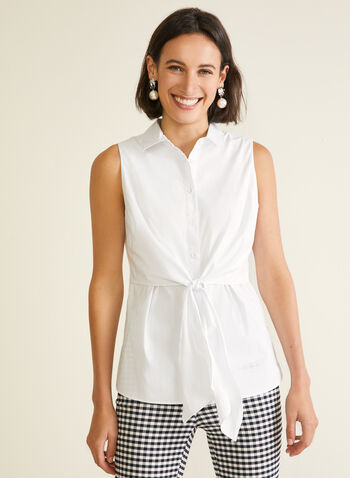 Shirt Collar Knot Detail Blouse, White,  blouse, shirt collar, button front, knot, high low, sleeveless, spring summer 2020