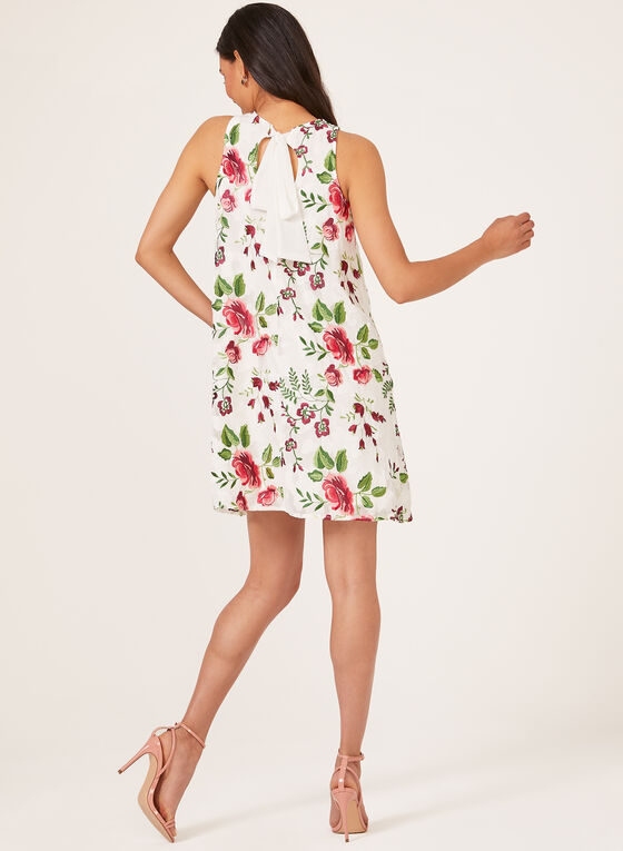 Floral Embroidered Sleeveless Dress, White