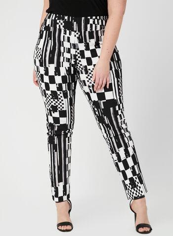Joseph Ribkoff - Abstract Print Slim Leg Pants, Black, hi-res,