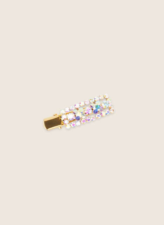 Small Crystal Embellished Hair Clip, Gold