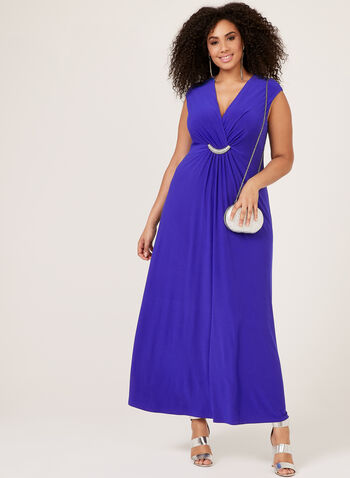 Jessica Howard – Crystal Detail Surplice Gown, Blue, hi-res