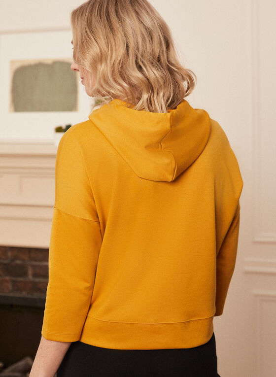 3/4 Sleeve Hooded Top, Yellow