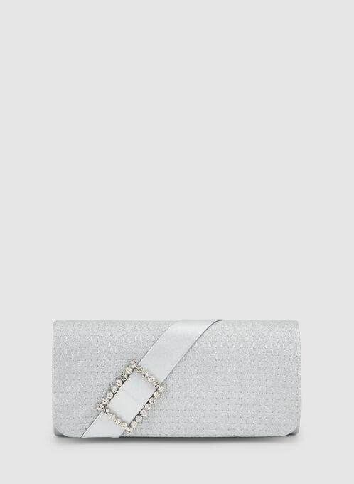 Glitter Clutch, Silver
