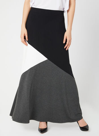 Jersey Maxi Skirt, Grey, hi-res,  long skirt, spring 2019, jersey, pull-on, colour block