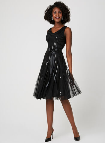 Sequin Mesh Dress, Black, hi-res
