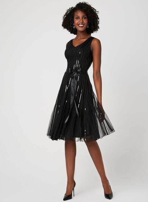 Sequin Mesh Dress, Black, hi-res
