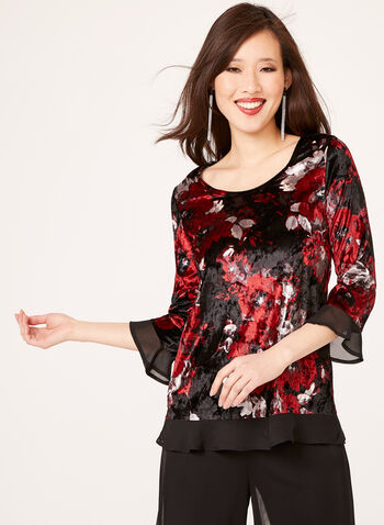 Floral Velvet Chiffon Trim Top, Red, hi-res
