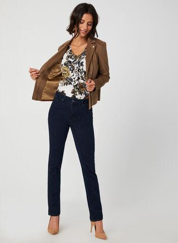 Ruffle Neck Floral Print Blouse, White, hi-res,  floral print top, crepe top, crepe blouse, ruffle blouse, ruffle top