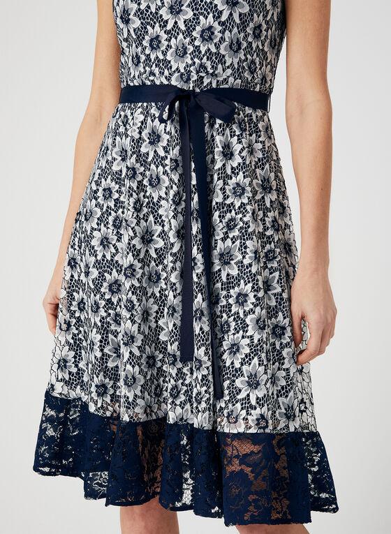 Floral Lace Illusion Dress, Blue