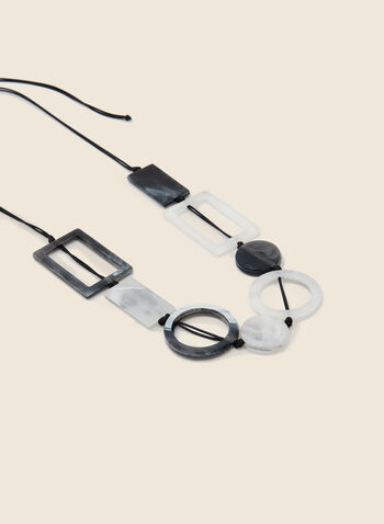 Mixed Geometric Stone Necklace, Black,  necklace, stone, geometric, cord, mixed, fall winter 2020