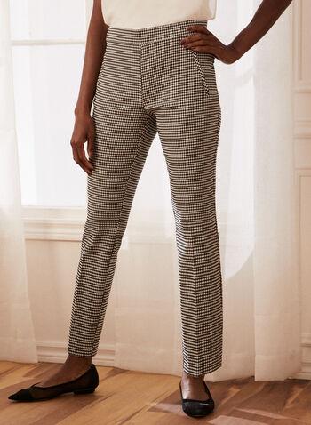 Gingham Print Slim Leg Pants, Black,  pants, slim leg, pull-on, pleated, gingham, spring summer 2021