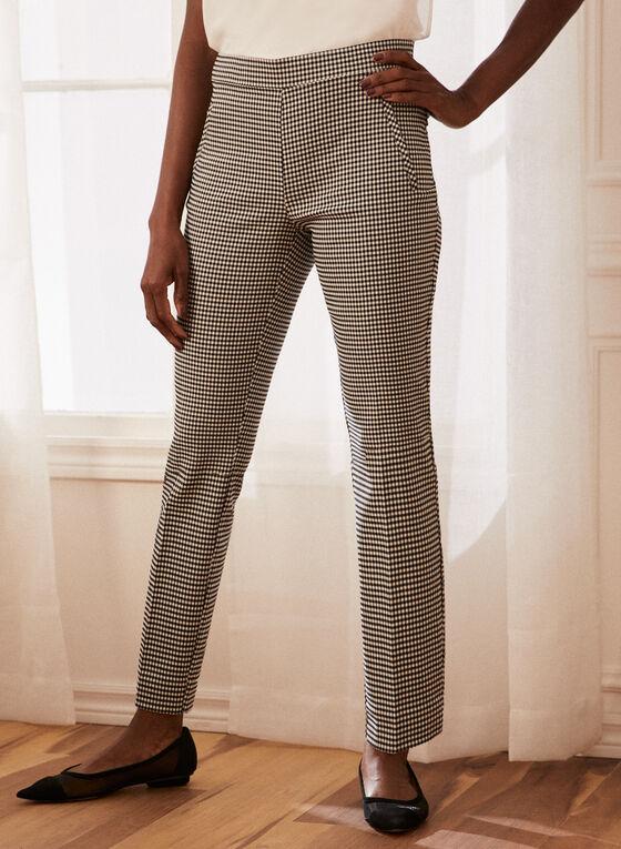 Pantalon à jambe étroite motif vichy, Noir