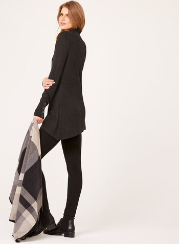 Cowl Neck Mitered Tunic Sweater, Grey, hi-res