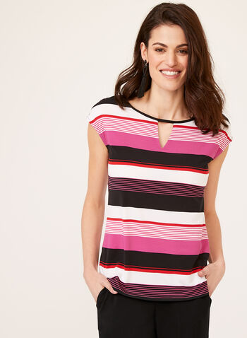 Stripe Print Short Sleeve Top, Multi, hi-res