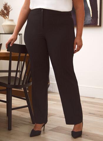 Pantalon coupe moderne à jambe large, Noir,  pantalon, coupe moderne, jambe large, bas, jersey, bouton, fermeture éclair, automne 2021