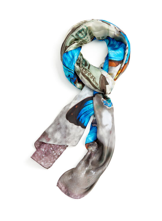 Butterfly & Pearl Print Scarf, Grey, hi-res