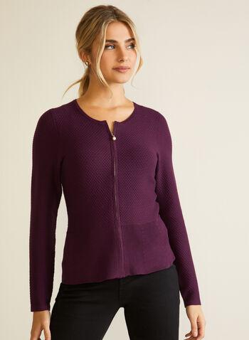 Cardigan zippé en tricot gaufré, Violet,  automne hiver 2020, cardigan, tricot, manches longues, gaufré, zip, glissière, perle