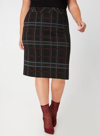 Plaid Pencil Skirt, Black, hi-res,  fall winter 2019, plaid print, pencil skirt, pull-on