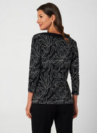 Leaf Print Jersey Top, Black