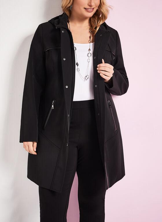 Nuage Faux Leather Trim Coat, Black, hi-res