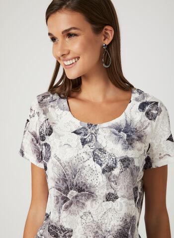 T-shirt à motif floral et détails cristaux, Gris, hi-res