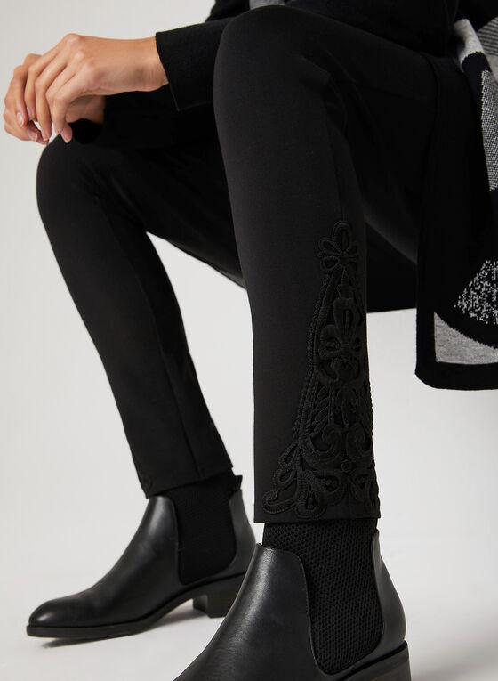 Legging à détails crochet à l'ourlet, Noir, hi-res