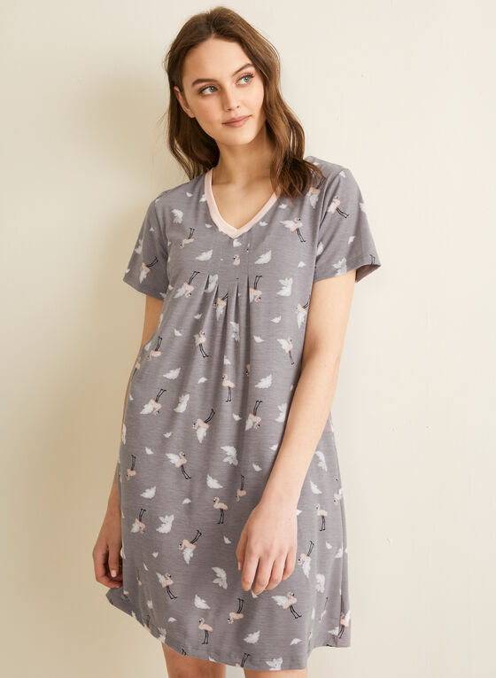 Claudel Lingerie - V-Neck Pleated Effect Nightshirt, Grey