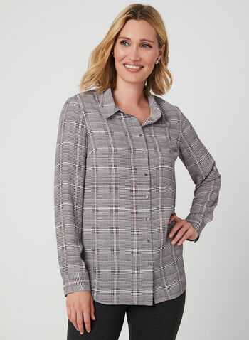 Plaid Print Chiffon Blouse, Black, hi-res,  fall 2019, winter 2019, tunic, metallic buttons, long sleeves, chiffon