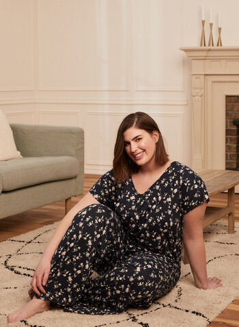Floral Print Pyjama Set, White,  pyjamas, set, floral, t-shirt, top, v-neck, short sleeves, pants, pull-on, spring summer 2021