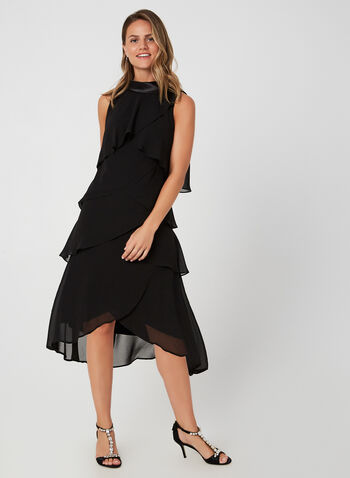 Satin Roll-Neck Dress, Black,  cocktail dress, sleeveless, V-back, satin collar, chiffon, tiered, fall 2019, winter 2019