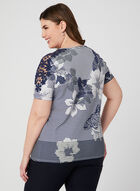 T-shirt rayé et fleuri à détails crochet, Bleu, hi-res