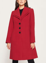 Manteau aspect laine et double col à revers, Rouge, hi-res